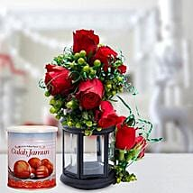 Alluring Roses Arrangement and Gulab Jamun Combo: Mother's Day Flower and Sweets to UAE