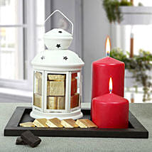 Assorted Chocolates and Red Candles Combo: Christmas Home Decor to UAE