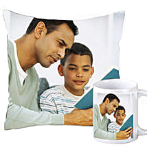 Cuddly personalized cushion and coffee mug: Father's Day