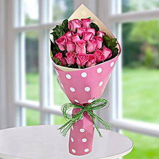Dark Pink Roses Bunch: Valentine Flower Bouquets to UAE