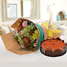 Delightful Flower Bouquet With Tiramisu Cake: Flower and Cake Delivery in UAE