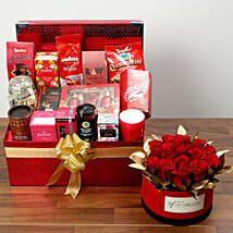 Delightful Food Hamper With Red Roses: Rose Day Gifts to UAE