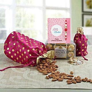 Designer Polka: Rakhi with Dry Fruits to UAE