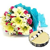 Elegant Bouquet with Cake: Send Same Day Flowers to Abu Dhabi
