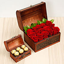 Elegant Box Of 15 Red Roses and Chocolates: Dubai Flower Delivery