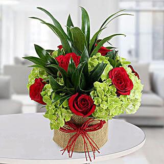 Enticing Roses N Hydrangea Arrangement: Valentine's Day Roses to UAE