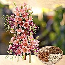 Exotic Flowers Arrangement and Dry Fruits Combo: Send Mother's Day Flower and Dry Fruits to UAE