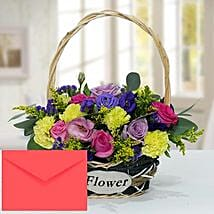 Floral Basket Arrangement With Greeting Card: Mother's Day Flower with Greeting Cards to UAE