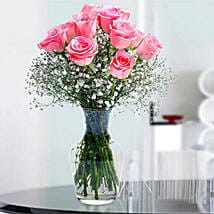 Glorious 12 Pink Roses: Send Same Day Flowers to Abu Dhabi