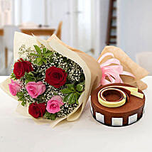 Gorgeous Roses Bouquet With Triple Chocolate Cake: Flowers & Cake for Mothers Day