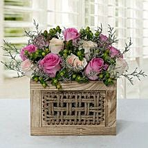 Graceful Rose Wooden Arrangement: Wedding Gifts Dubai