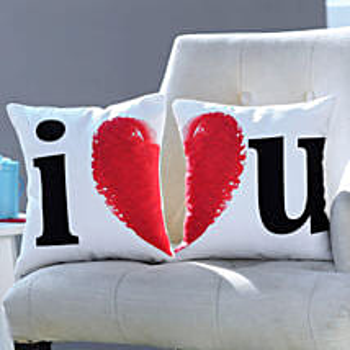 I Love You Printed Cushion Set: Personalised Gifts UAE