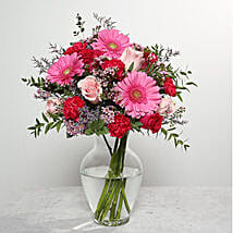 Mixed Flowers In Glass Vase: Send Birthday Flowers to UAE