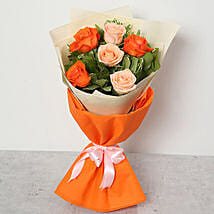 Orange and Peach Roses Bouquet: Birthday Flower Bouquets to UAE