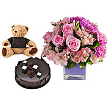 Perfect Trio: Flowers & Cake for Mothers Day