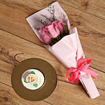 Pink Roses Bouquet and Mono Cake Combo: Send Flower Bouquets to UAE