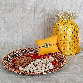 Rakhi With Crunchy Dry Fruits: Rakhi with Dry Fruits to UAE