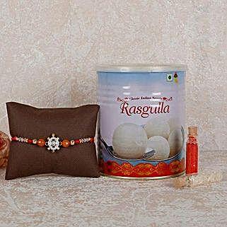 Rasgulla And Designer Rakhi Combo: Rakhi Delivery in Abu Dhabi