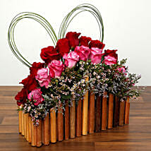 Red and Purple Roses In A Wooden Base: Valentine's Day Rose Delivery in UAE