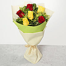 Red and Yellow Roses Bouquet: Send Flowers to UAE
