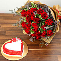Red Roses and Vanilla Cake Combo: Valentine's Day Gifts to UAE