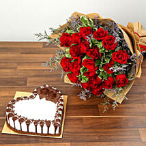 Rose Bouquet and Chocolate Cake Combo: Valentine's Day Flowers to UAE