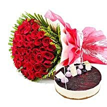 Roses n Blueberry Cheese Cake: Birthday Cake Delivery in Dubai