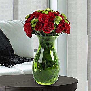 Roses N Chrysanthemums Vase Arrangement: Valentine's Day Flowers for Her to UAE