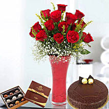 Warm Wishes Combo: Flowers N Chocolates