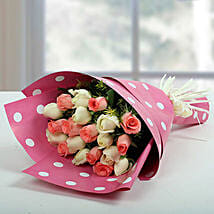 White N Pink Roses Bunch: Birthday Bouquets for UAE
