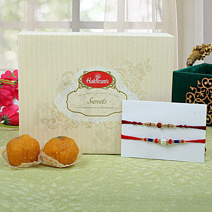 Premium Rakhi with Moti Choor Ladoo