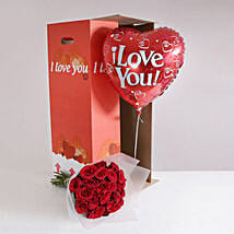 24 Burgundy Roses I Love You Gift Set: Valentine's Day Gifts to London