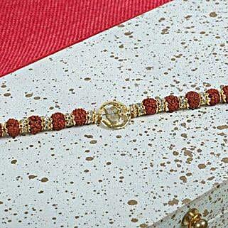 Aum Bracelet with Rudraksh: Rakhi to UK