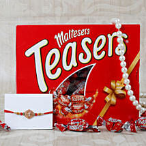 Auspicious Aum Maltesers Choclate Rakhi Hamper: Rakhi Delivery in London, UK