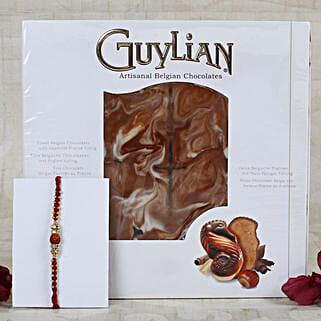 Auspicious Rudraksha Rakhi Belgian Chocolate: Rakhi With Chocolates UK