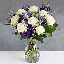 Avalanche Roses n Lisianthus: Anniversary Flowers to UK