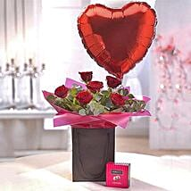 Be Mine Chocolate and Balloon Gift Set: Rose Day Gifts to UK