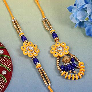 Blue Yellow Designer pair: Send Rakhi for Bhaiya Bhabhi to UK