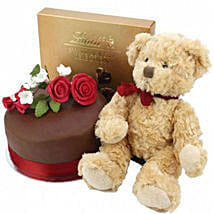 Chocolate Rose Cake With Bear And Lindt: Order Cakes to UK