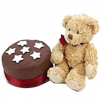 Chocolate Star Cake With Bear: Birthday Cakes to UK