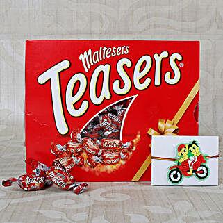 Ganesha Bike Ride kids rakhi with Maltesers Chocolates: Rakhi for Kids to UK