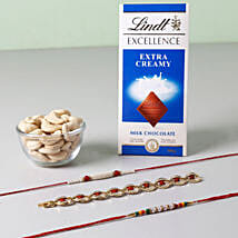 Lindt And Cashew Nuts With Set of 3 Rakhis: Send Rakhi With Chocolates to UK