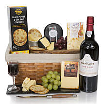Luxury Port And Cheese Hamper: Valentine Gift hampers to UK