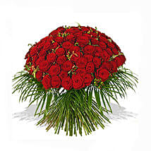 One Hundred Red Roses Bouquet: Send Gifts to Manchester, UK