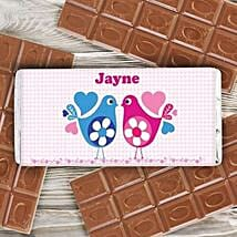 Personalized Love Birds Milk Chocolate Bar: Send Personalised Gifts to UK