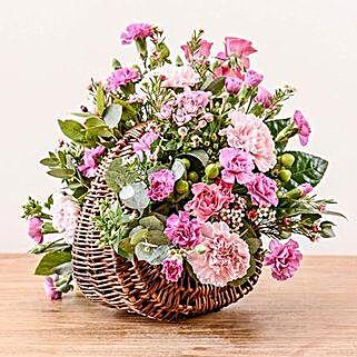 Pink Basket Arrangement: Sympathy & Funeral Flowers to UK