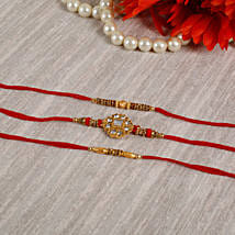 Royal American Diamond Rakhi Set: Set of 3 Rakhi to UK