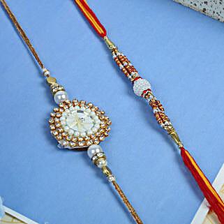 Stunning white moti rakhi set: Rakhi to UK
