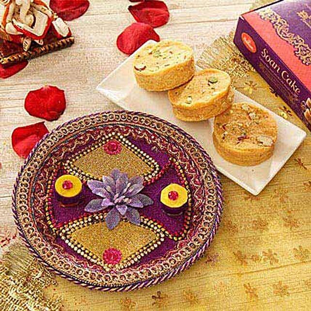 Decorative Bhai Dooj Thali with Soan Cake