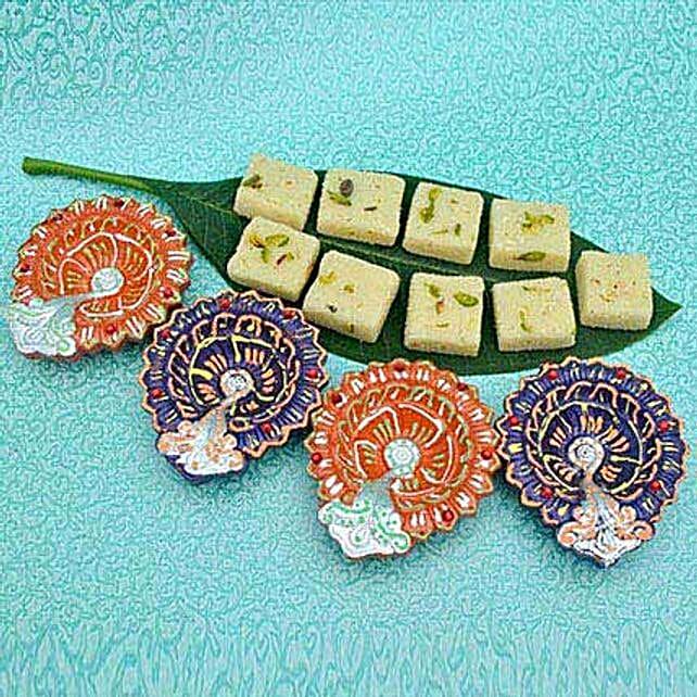 Pista Barfi With 4 Diyas